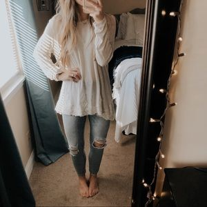 Xhilaration Cream Lace Knit Long Sleeve Swing Top